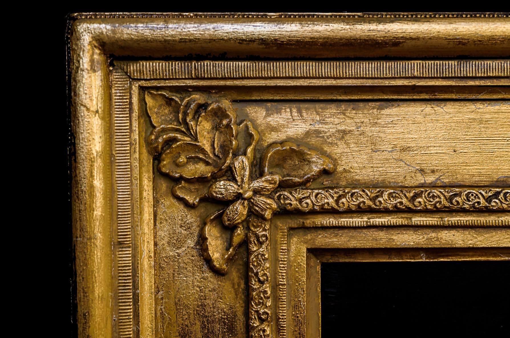 Corner detail of Empire-style frame Ashton created for an original oil painting of Charity Pratt by ...