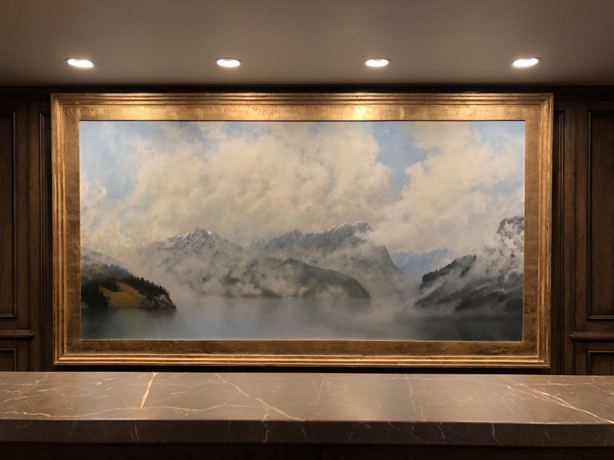 The center panel of the triptych is mounted in a custom frame designed and created by Al and Ashton.