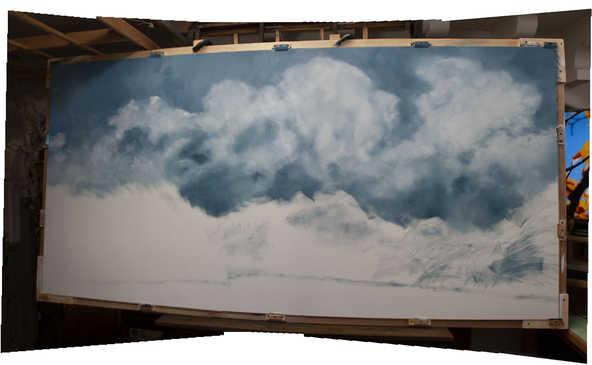 This photograph shows the initial underpainting of the sky on the center panel of the triptych....