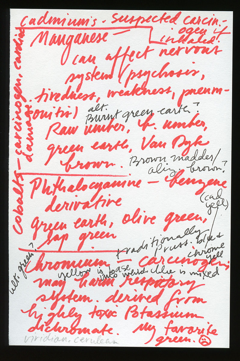 This single notepad page logs some of Elspeth's color-by-color discoveries concerning carcinoge...
