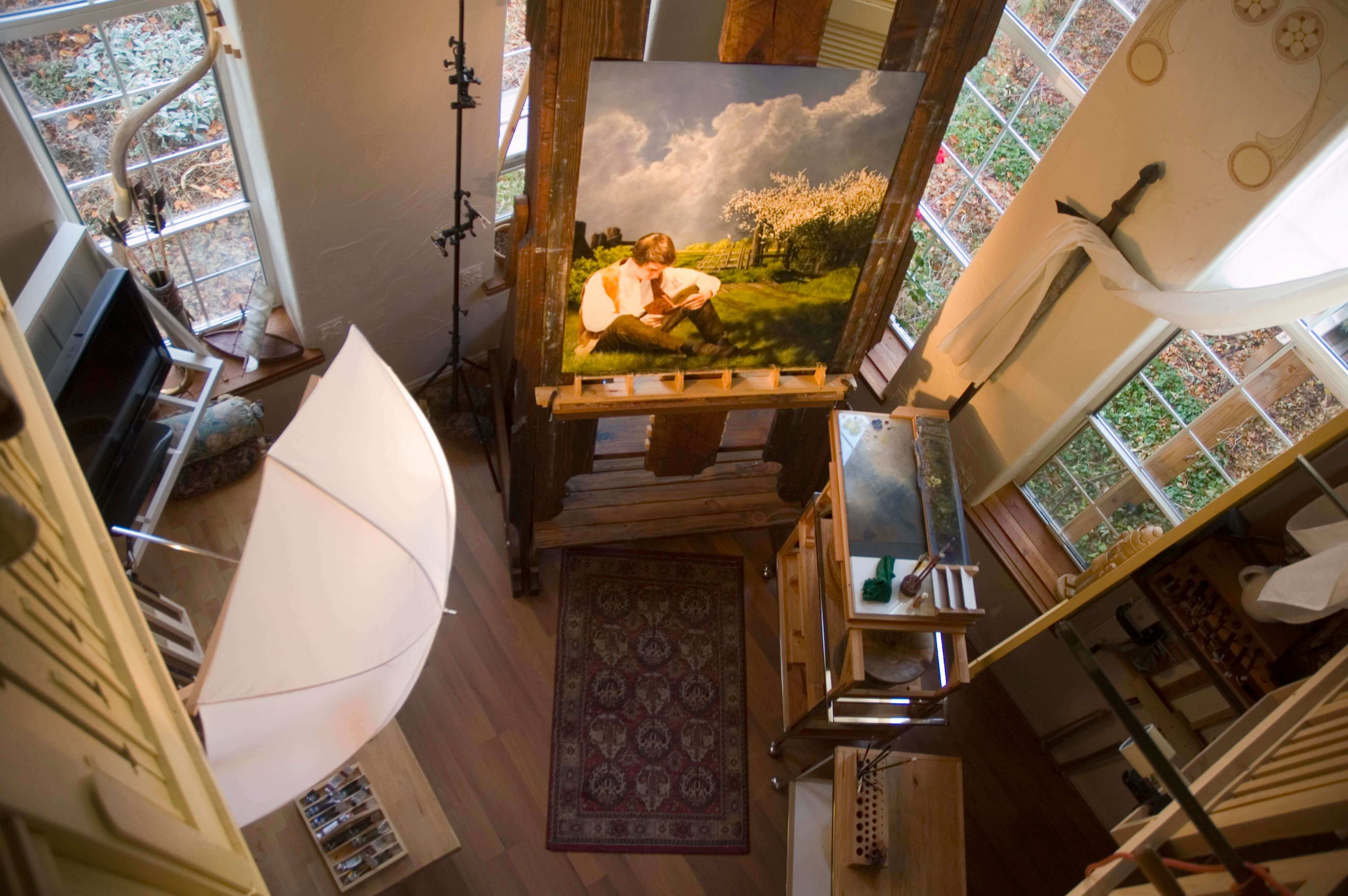Looking down into the studio during a painting session near the end of the project.