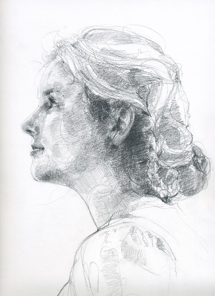 Pencil study of model for Margerette Clarkeby Elspeth Young