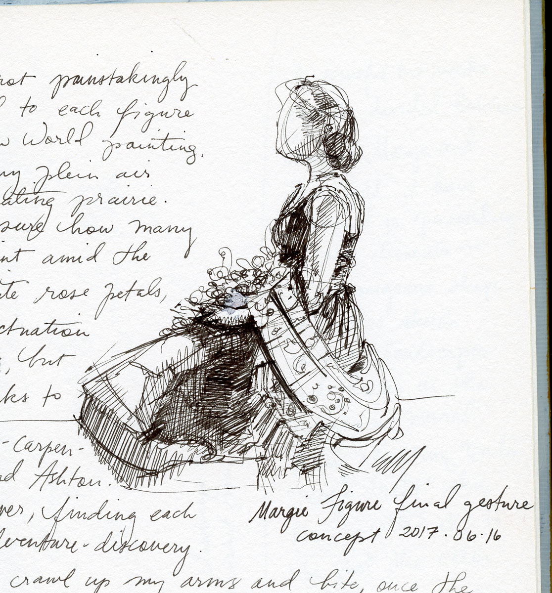 Costume study in pen and ink by Elspeth Young