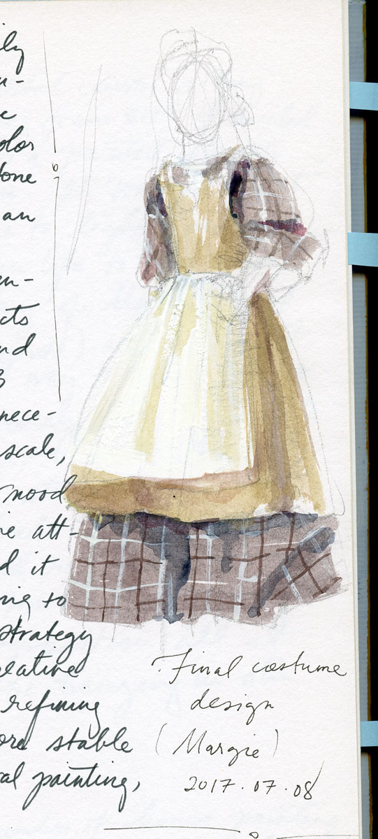 Costume element color study in gouacheby Elspeth Young