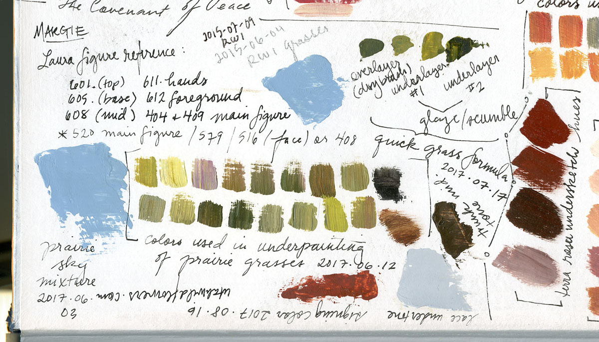 Prairie color-swatch study in watercolor by Elspeth Young